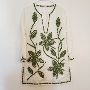 Tory Burch embroidered linen tunic coverup
